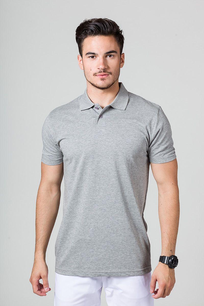 Koszulka męska Polo ciemnoszary melanż