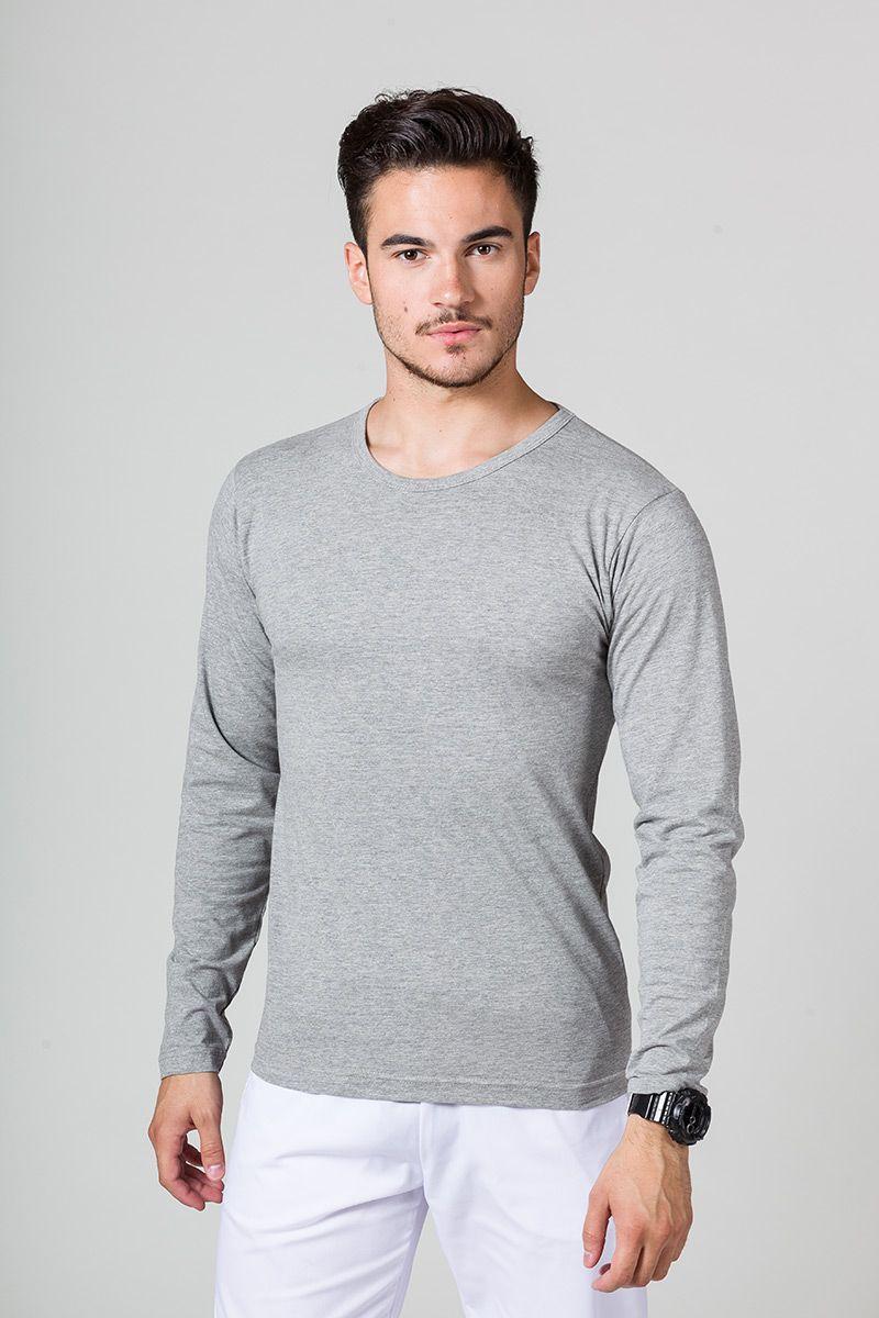 Koszulka męska z długim rękawem ciemnoszary melanż