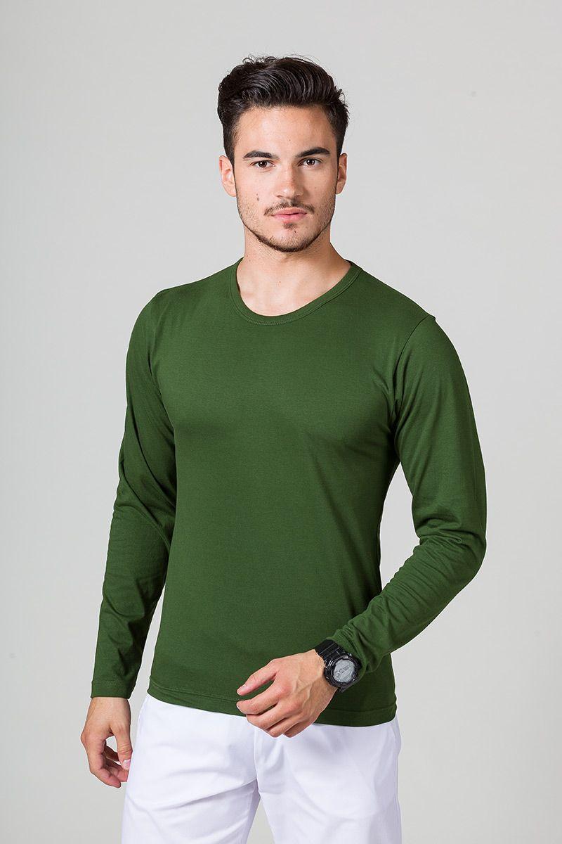 Koszulka męska z długim rękawem butelkowa zieleń