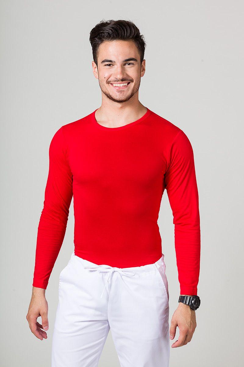 Koszulka męska z długim rękawem czerwona