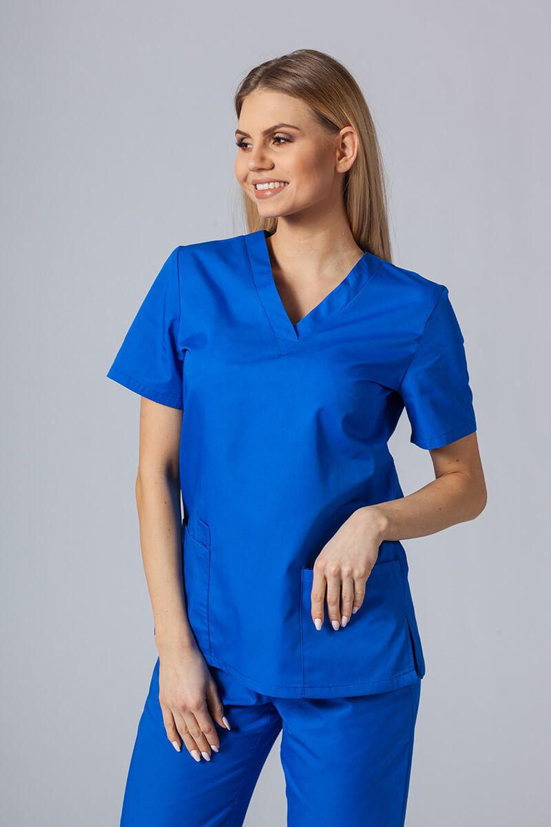Bluza medyczna damska Sunrise Uniforms królewski granat taliowana