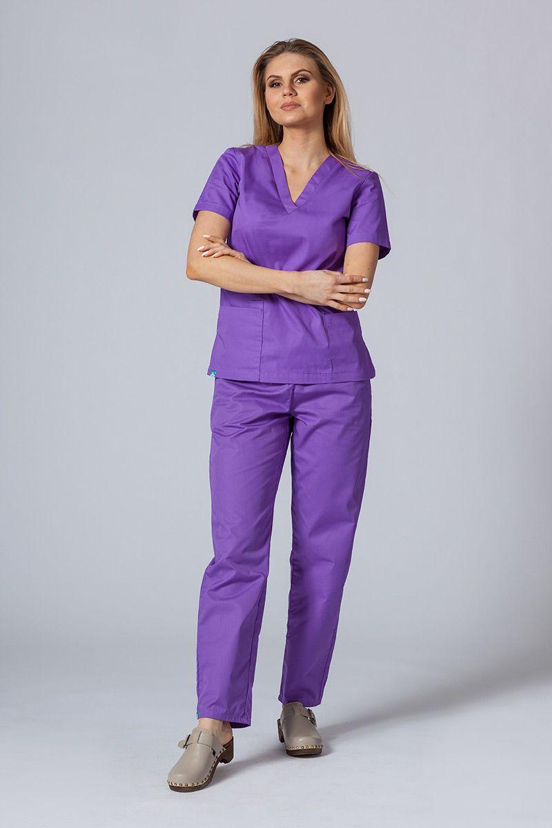 Komplet medyczny Sunrise Uniforms fioletowy (z bluzą taliowaną)