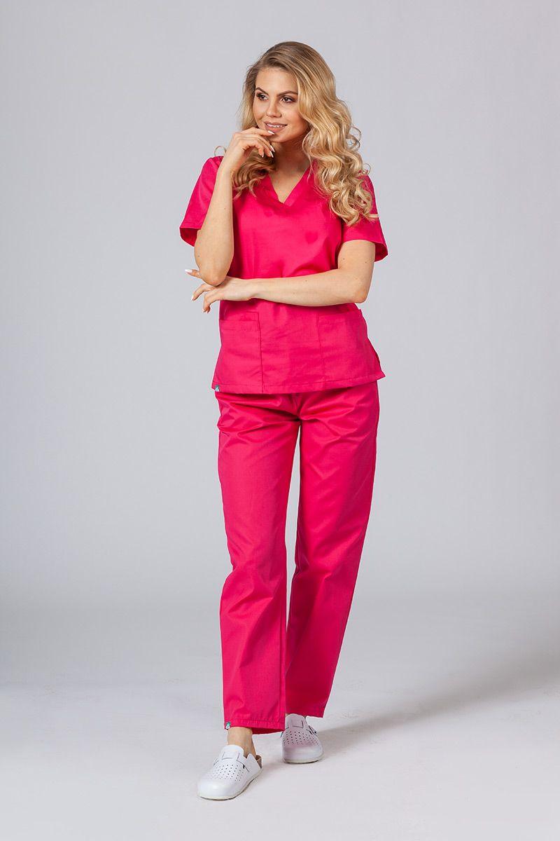 Komplet medyczny Sunrise Uniforms malinowy (z bluzą taliowaną)