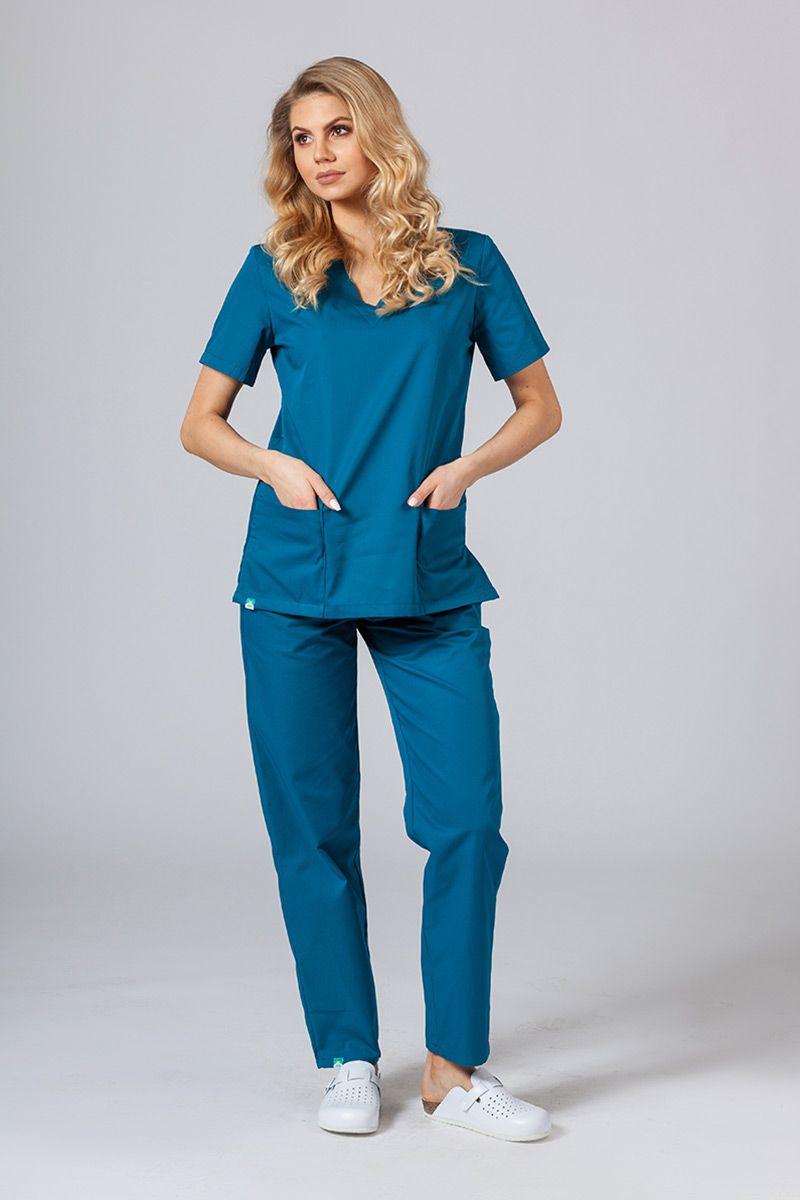 Komplet medyczny Sunrise Uniforms karaibski błękit (z bluzą taliowaną)