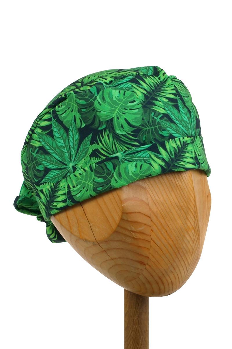 Czepek Sunrise Uniforms Style Unisex wywijany zielone liście