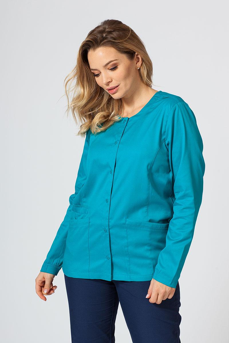 Bluza damska rozpinana Maevn Matrix morski błękit