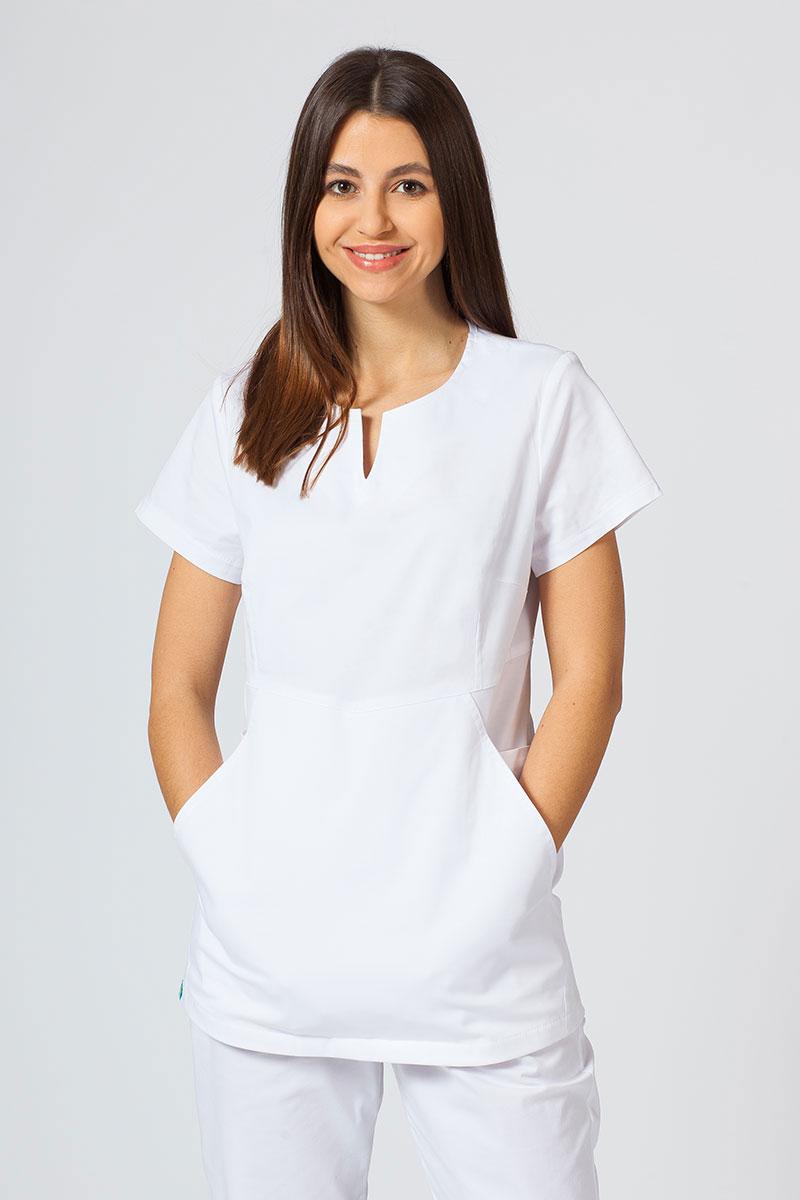 Bluza medyczna damska Sunrise Uniforms Kangaroo (elastic) biała
