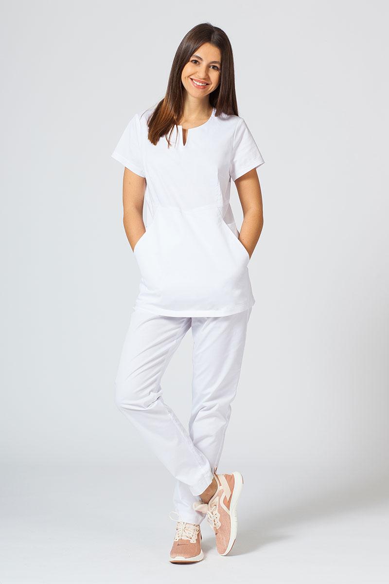 Komplet medyczny Sunrise Uniforms Active biały (z bluzą Kangaroo - elastic)