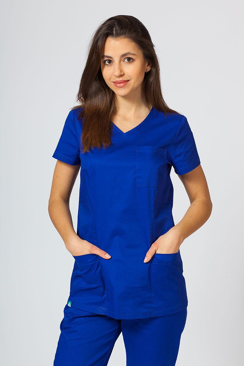 Bluza medyczna damska Sunrise Uniforms Fit (elastic) granatowa