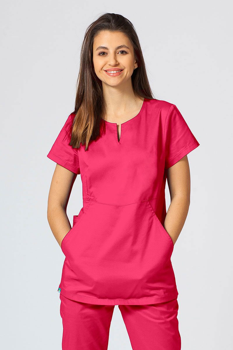 Bluza medyczna damska Sunrise Uniforms Kangaroo (elastic) malinowa