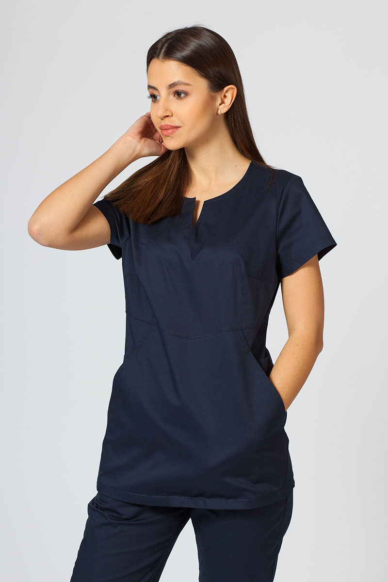Bluza medyczna damska Sunrise Uniforms Kangaroo (elastic) ciemny granat