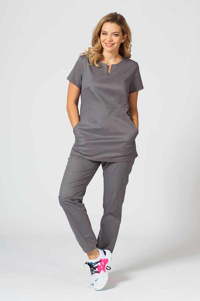 Komplet medyczny Sunrise Uniforms Active szary (z bluzą Kangaroo - elastic)