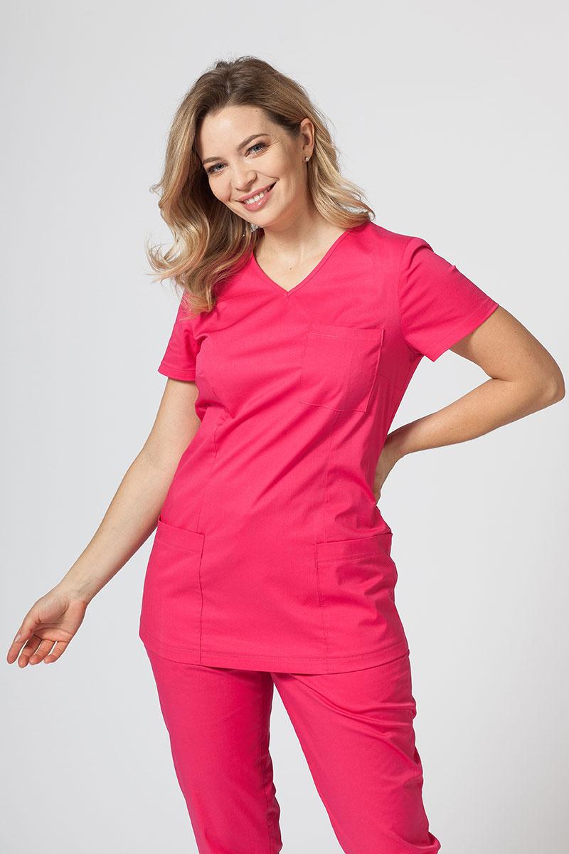 Bluza medyczna damska Sunrise Uniforms Fit (elastic) malinowa
