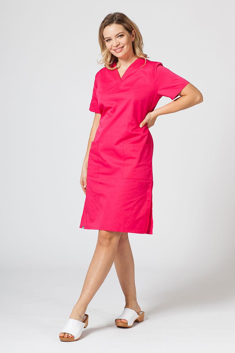 Sukienka medyczna damska prosta Sunrise Uniforms malinowa