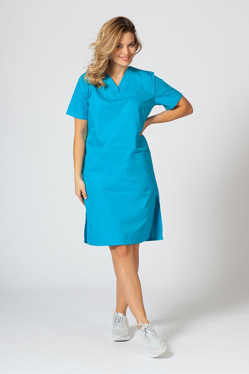 Sukienka medyczna damska prosta Sunrise Uniforms turkusowa