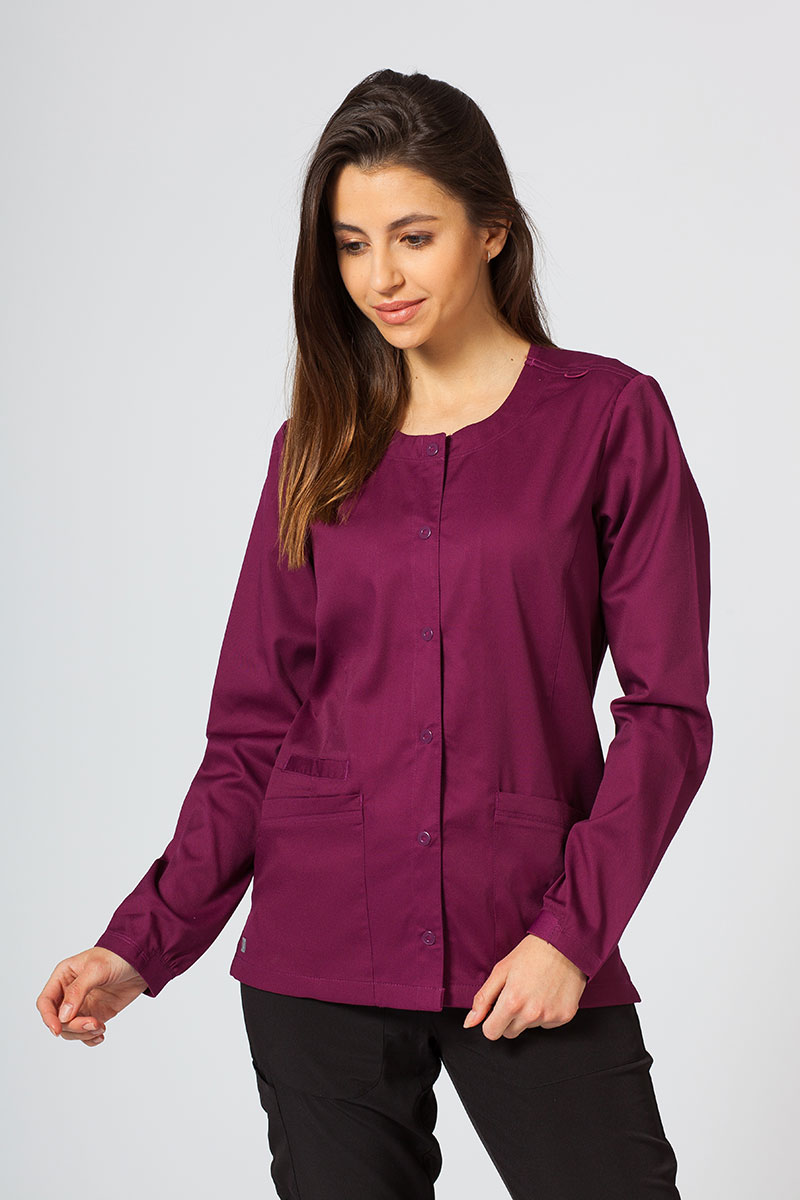 Bluza damska rozpinana Maevn Matrix wiśniowa
