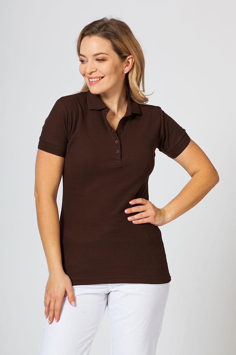 Koszulka damska Polo kawowa