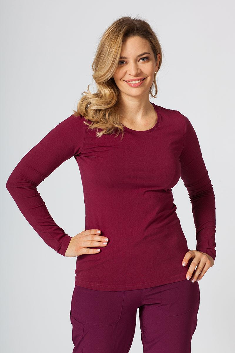 Koszulka damska z długim rękawem wiśniowa