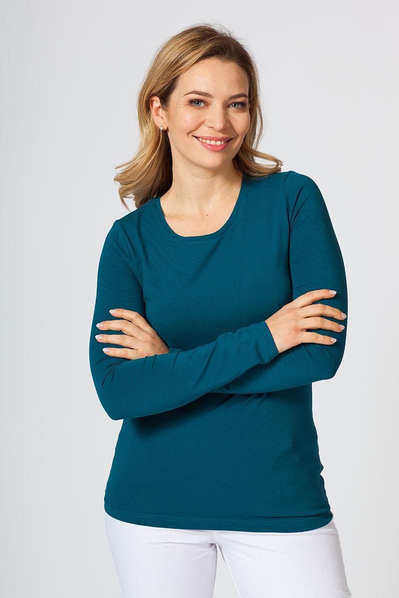 Koszulka damska z długim rękawem karaibski błękit
