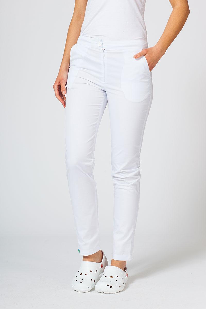 Spodnie medyczne damskie Sunrise Uniforms Slim (elastic) białe