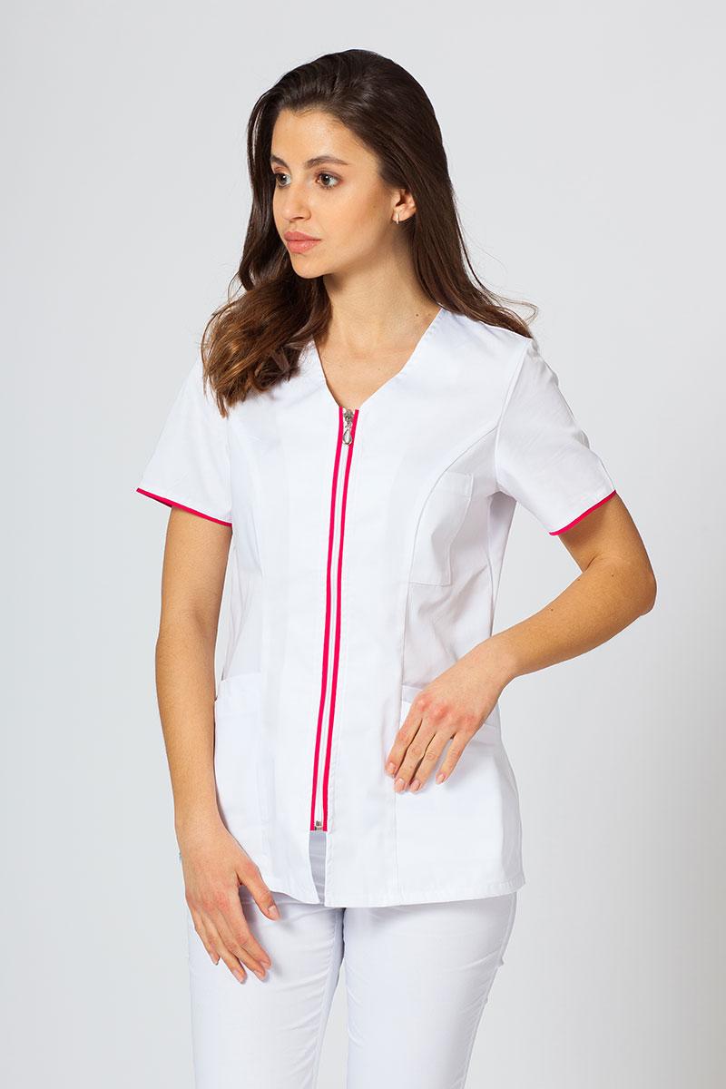Bluza medyczna damska na zamek Sunrise Uniforms biały/malina