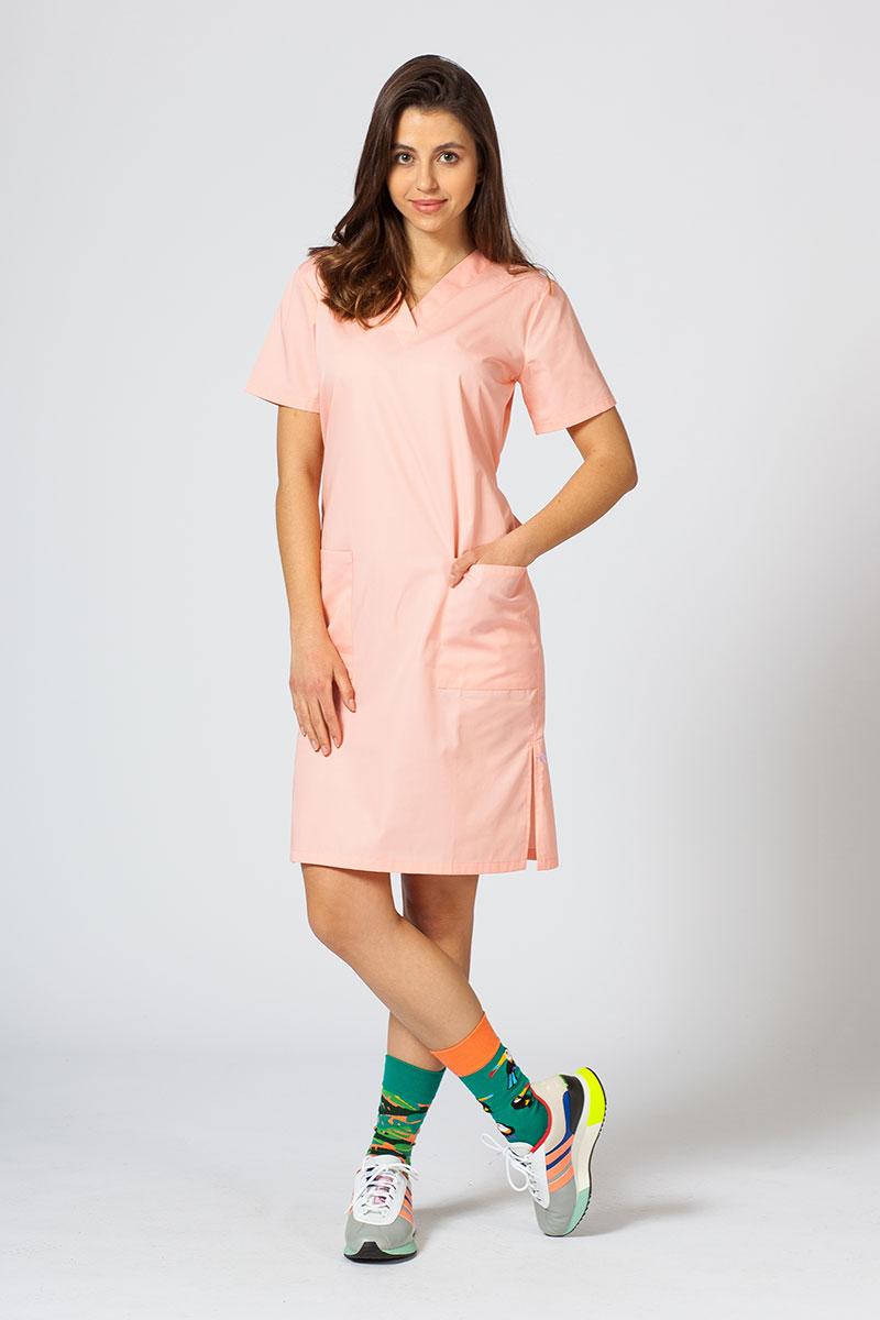 Sukienka medyczna damska prosta Sunrise Uniforms łososiowa