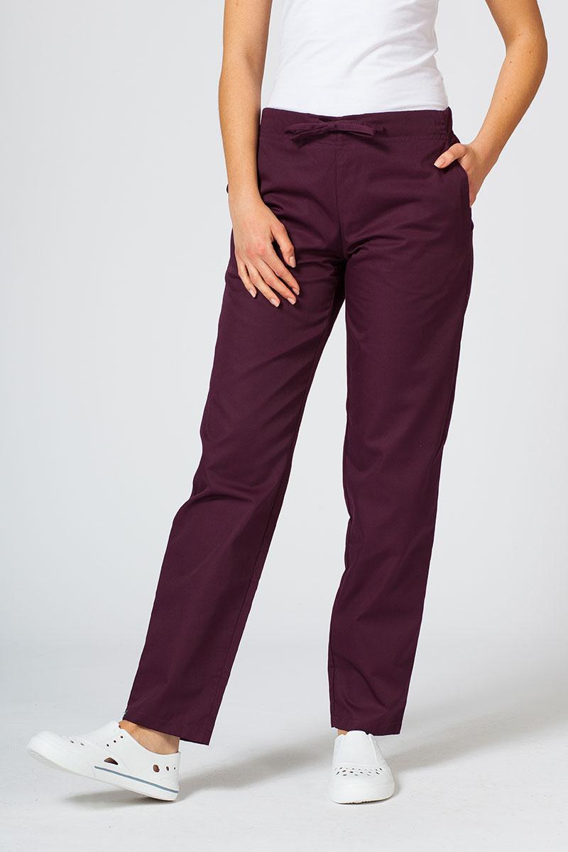 Spodnie medyczne uniwersalne Sunrise Uniforms burgundowe