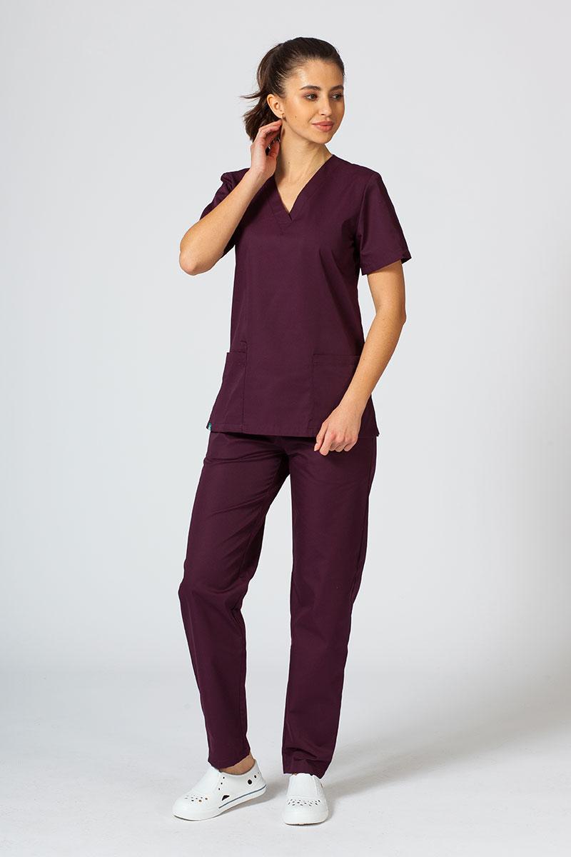 Komplet medyczny Sunrise Uniforms burgundowy (z bluzą taliowaną)
