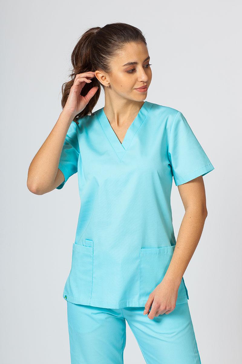 Bluza medyczna damska Sunrise Uniforms aqua taliowana