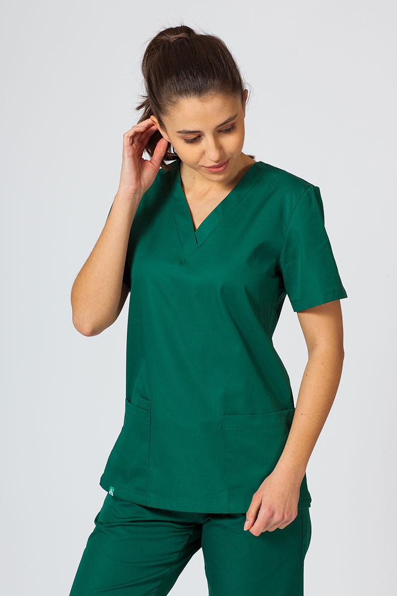 Bluza medyczna damska Sunrise Uniforms butelkowa zieleń taliowana