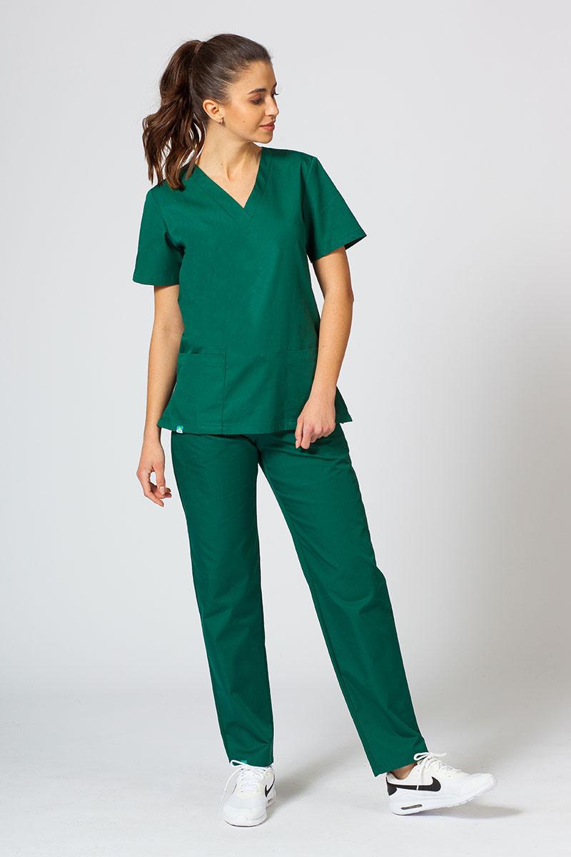 Komplet medyczny Sunrise Uniforms butelkowa zieleń (z bluzą taliowaną)
