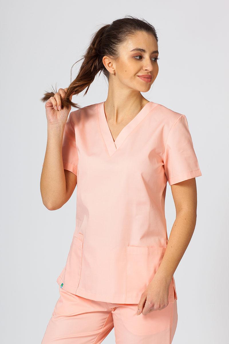 Bluza medyczna damska Sunrise Uniforms łososiowa taliowana