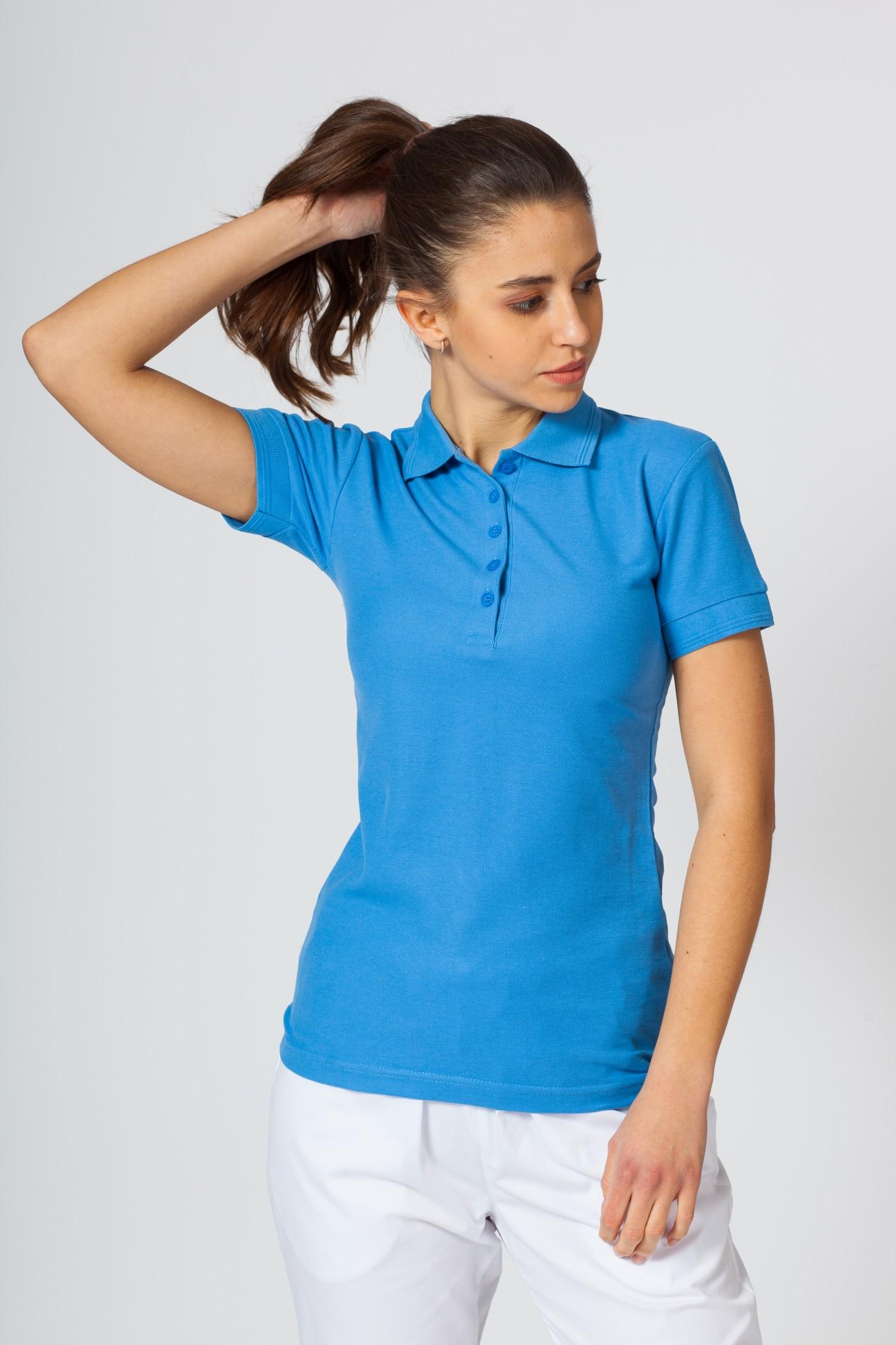 Koszulka damska Polo lazurowa