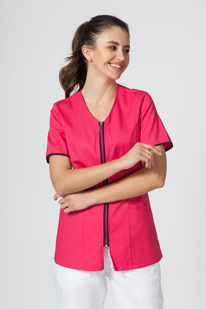Bluza medyczna damska na zamek Sunrise Uniforms malina/ciemny granat