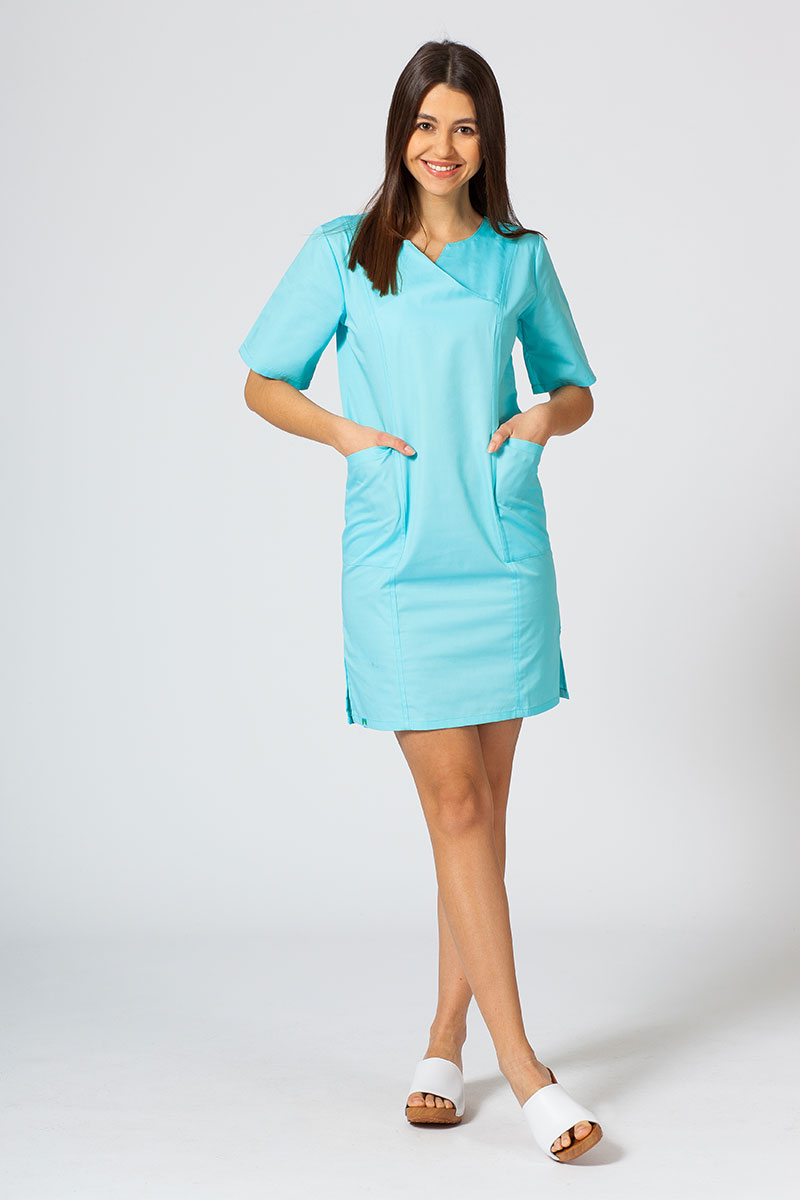 Sukienka medyczna damska klasyczna Sunrise Uniforms aqua