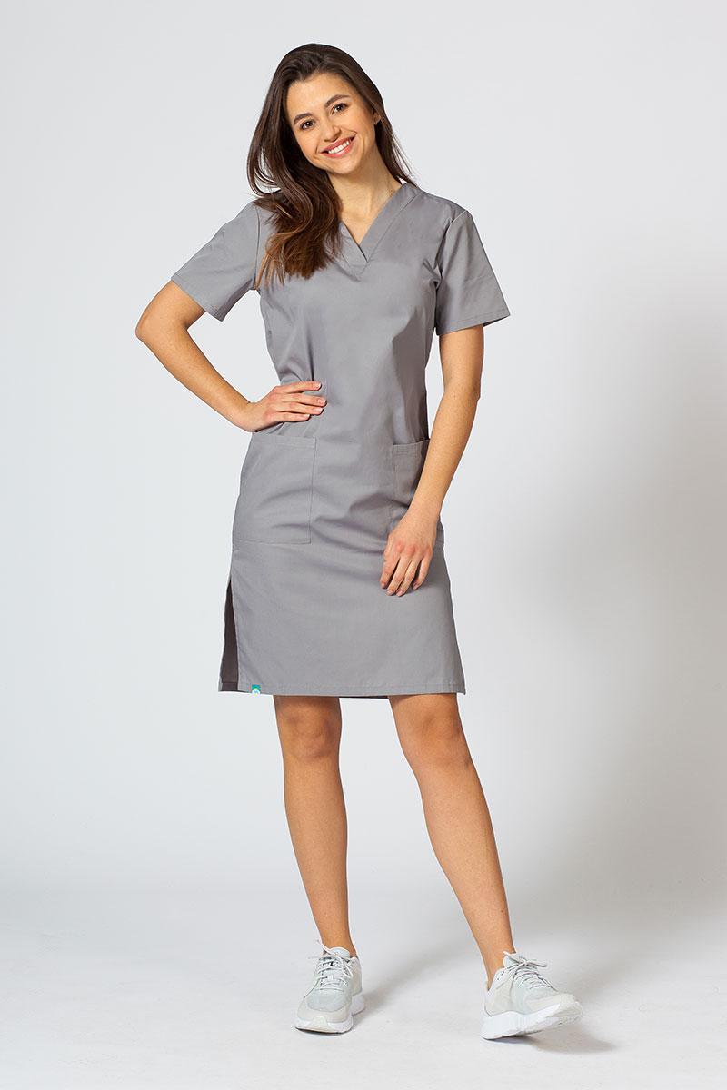 Sukienka medyczna damska prosta Sunrise Uniforms szara