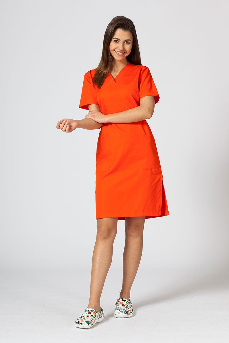 Sukienka medyczna damska prosta Sunrise Uniforms pomarańczowa