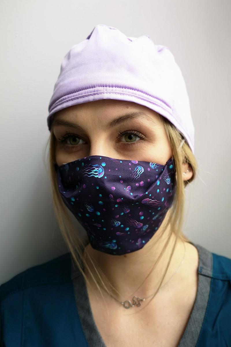 Maska ochronna wielokrotnego użytku z jonami srebra, 2-warstwowa, 100% bawełna, wzór: meduzy