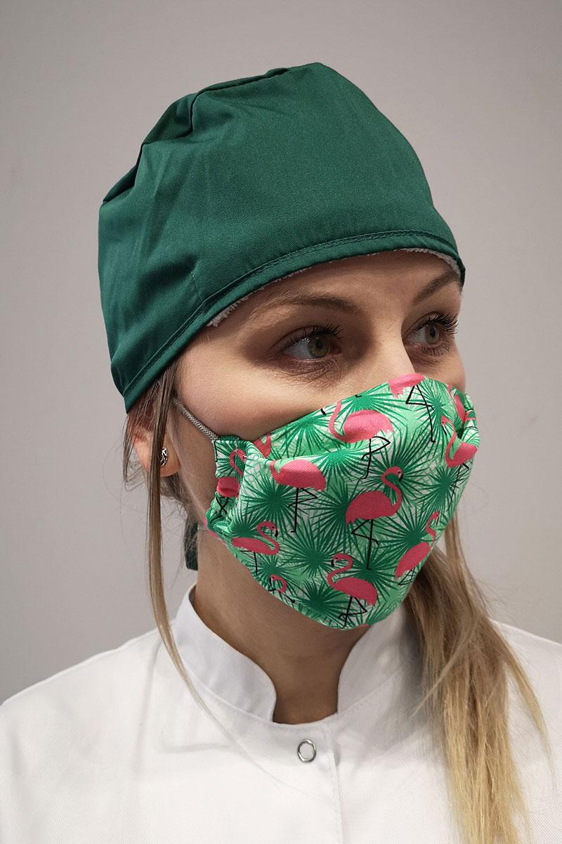 Maska ochronna wielokrotnego użytku z jonami srebra, 2-warstwowa, 100% bawełna, wzór: flamingi