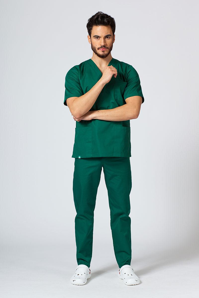 Komplet medyczny męski Sunrise Uniforms butelkowa zieleń (z bluzą uniwersalną)