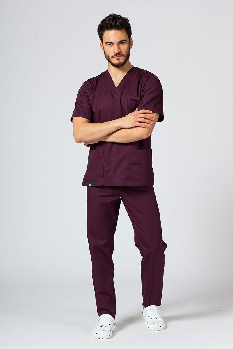 Komplet medyczny męski Sunrise Uniforms burgundowy (z bluzą uniwersalną)