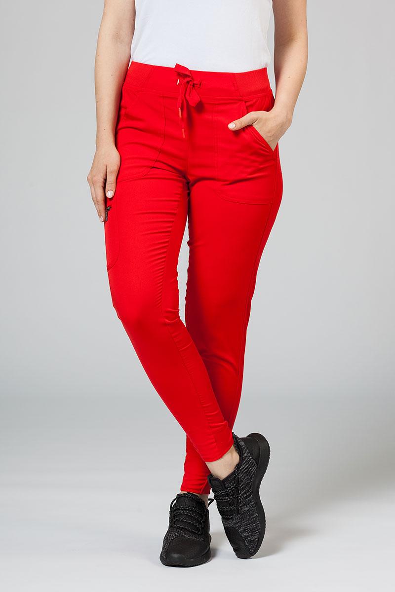 Spodnie damskie Adar Uniforms Ultimate Yoga Jogger czerwone