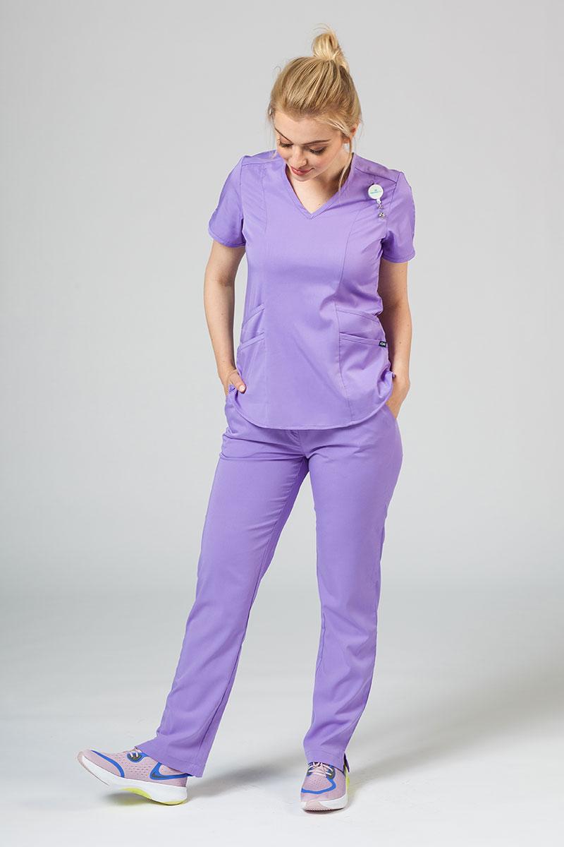 Komplet medyczny Adar Uniforms Yoga lawendowy (z bluzą Modern - elastic)