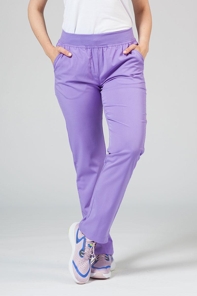 Spodnie damskie Adar Uniforms Leg Yoga lawendowe