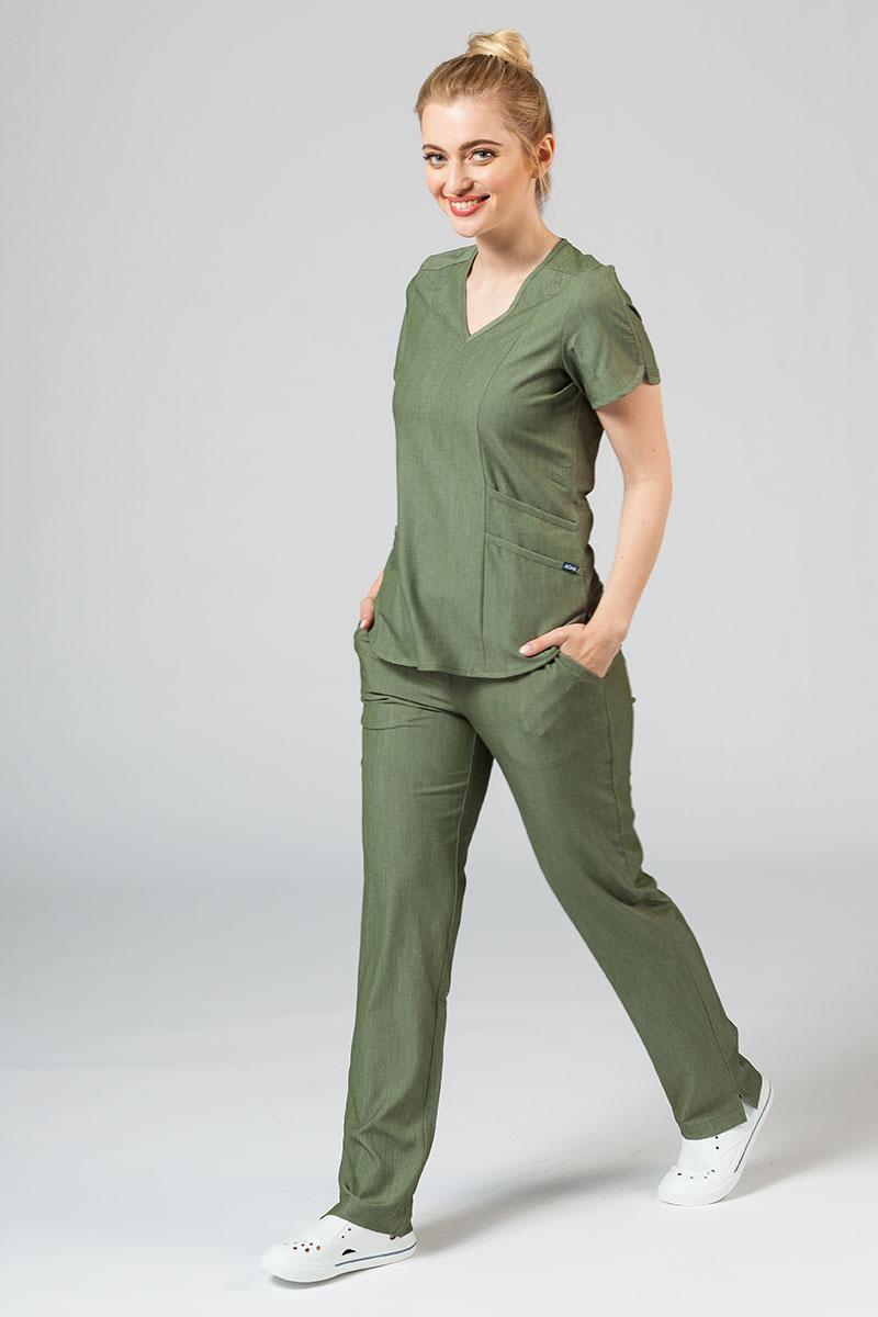 Komplet medyczny Adar Uniforms Yoga oliwkowy (z bluzą Modern - elastic)