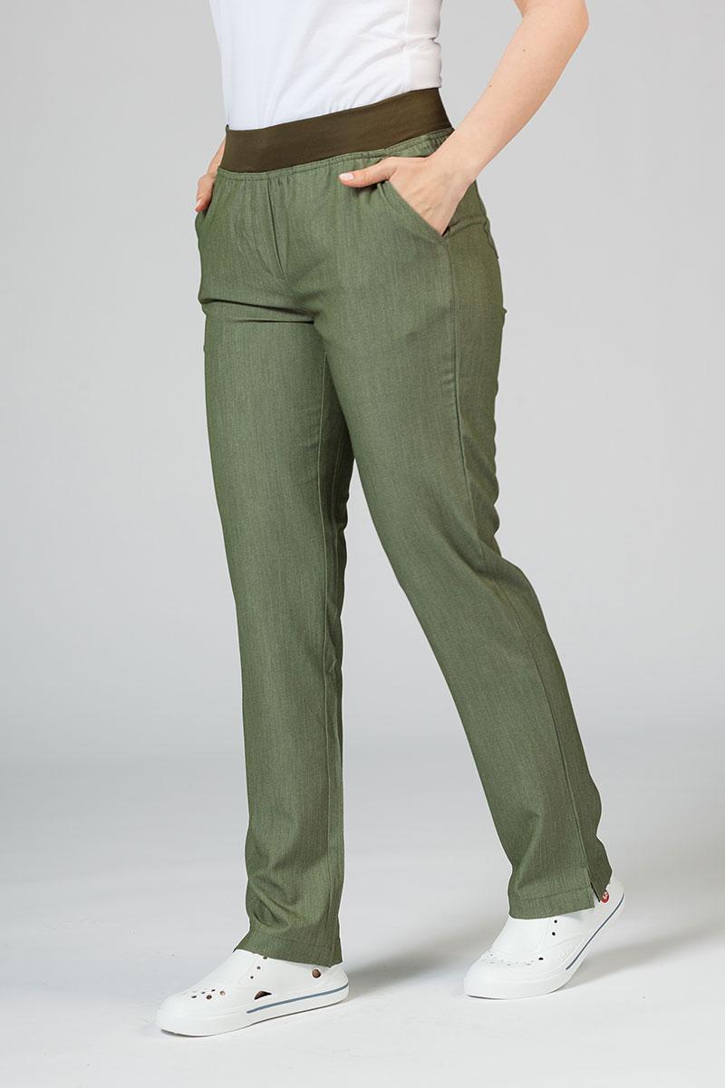 Spodnie damskie Adar Uniforms Leg Yoga oliwkowe