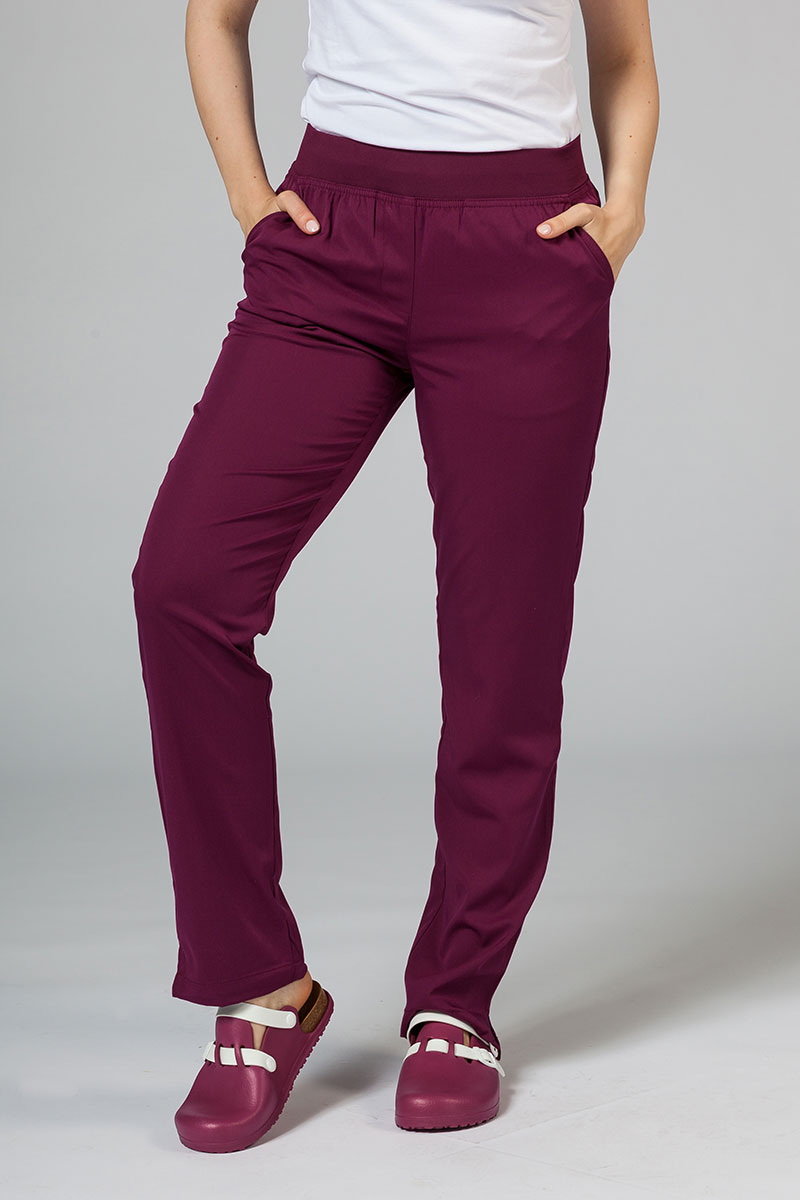 Spodnie damskie Adar Uniforms Leg Yoga wiśniowe