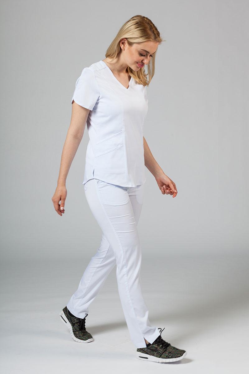 Komplet medyczny Adar Uniforms Yoga biały (z bluzą Modern - elastic)