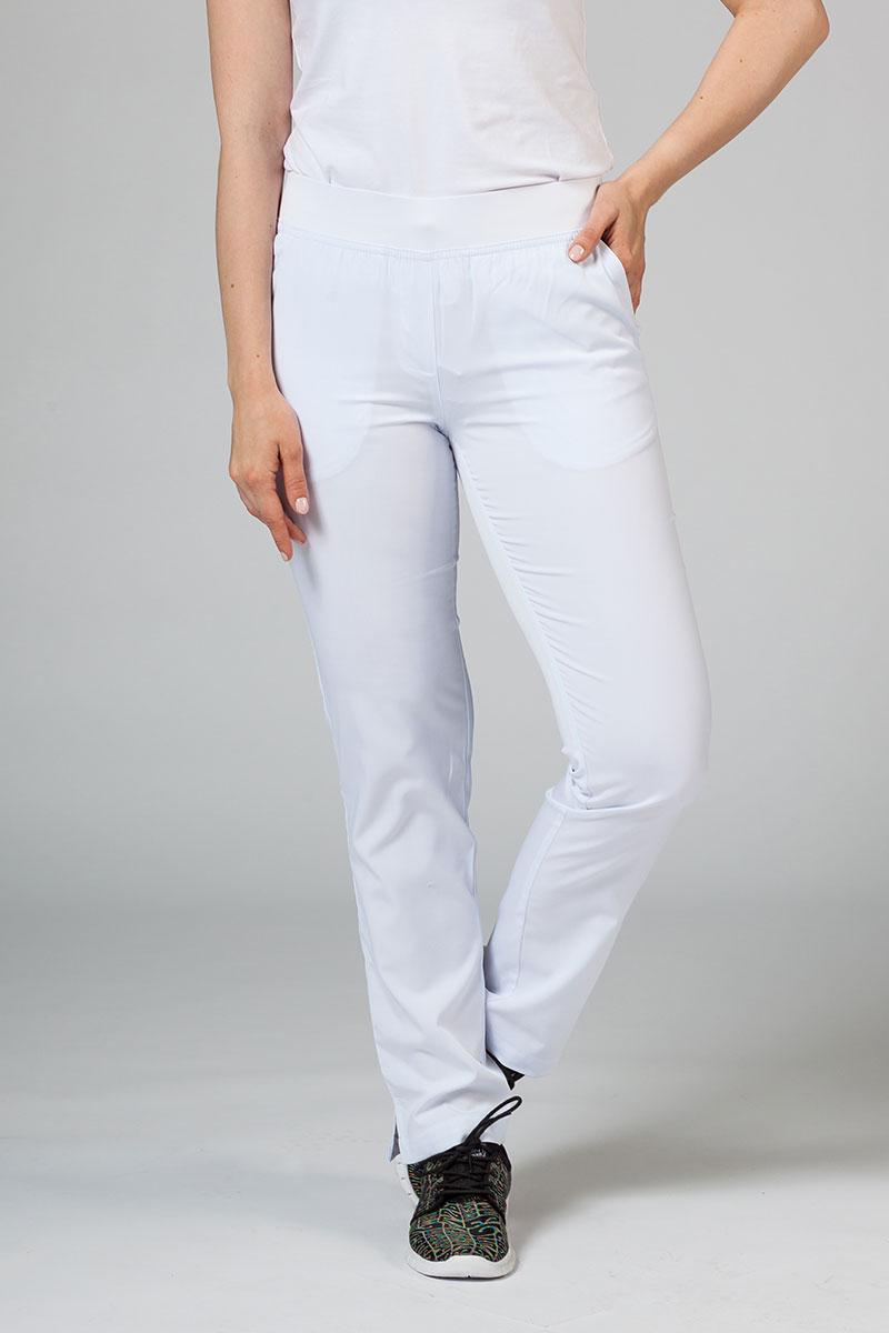 Spodnie damskie Adar Uniforms Leg Yoga białe