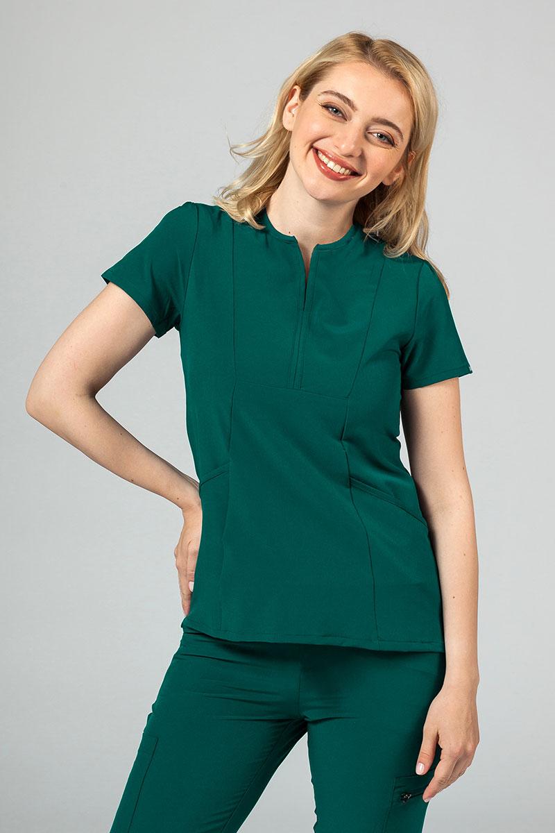 Bluza damska Adar Uniforms Notched butelkowa zieleń